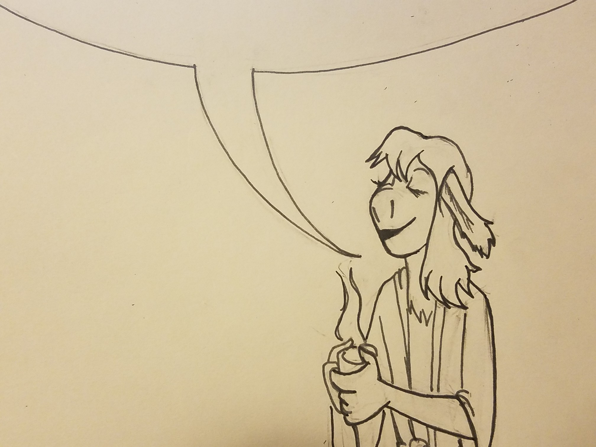 Line drawing of Caduceus Clay in a simple robe holding a mug of tea with an open word bubble suggestively encompassing the text above.